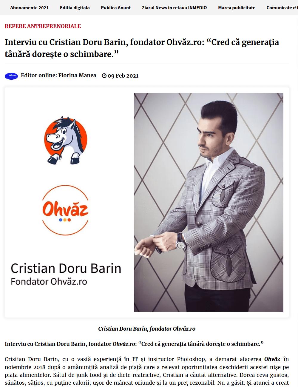 Screenshot 2021 02 11 Interviu cu Cristian Doru Barin fondator Ohvaz ro Cred ca generatia tanara doreste o schimbare ...2